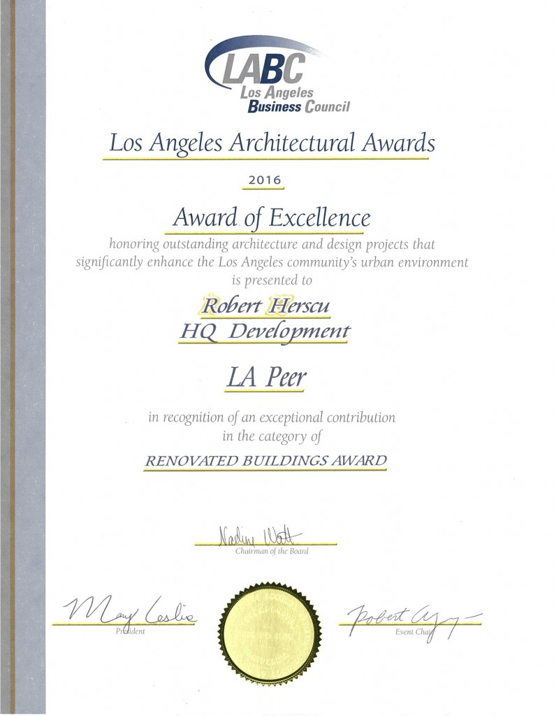 HQ Certificate of Excellence